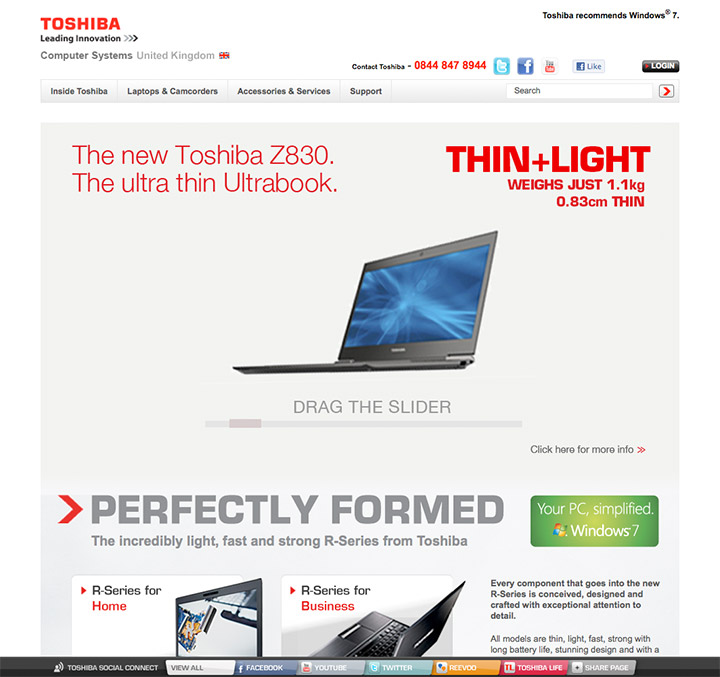 Toshiba Z830 campaign landing page.